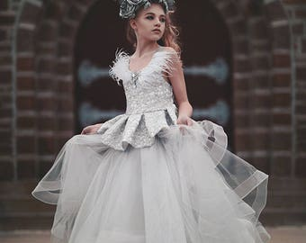 Ruffles And Radiance... An Exquisite Special Occasion Gown. Formal Dress. Flower Girl Dress