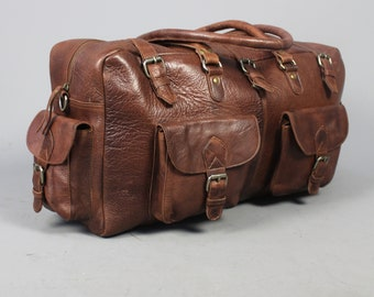 The Vagabond Duffel Sale: vintage style brown leather holdall duffle gym weekend bag luggage unisex womens mens flight carry on cabin