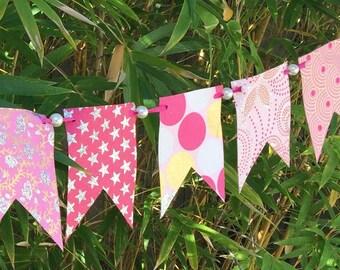 Pink Garland Banner Bunting Glitter Pearls | Wedding Shower | Baby Girl Shower | Birthday Decoration Decor | Hand Made Paper SALE