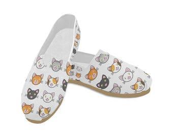 Women's Casual Shoes. Happy Cat Design. Cat Lovers. Slip Ons. Pet Lovers.