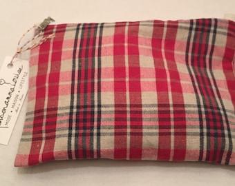 Vintage Plaid cotton fabric pouch