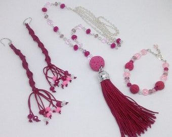 Tassel necklace,beaded necklace, fuchsia tassel necklace, chain necklace, gift for her
