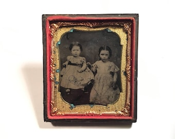Tintype of Adorable Sisters, 19th Century Antique Photo in Half Backing Case