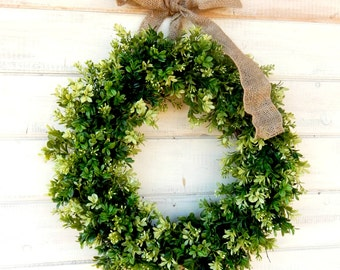 Spring Wreath-BOXWOOD Wreath-Summer Wreath-LARGE Door Wreath-Farmhouse Style-Boxwood Door Wreath-Outdoor Wreath-Housewarming Gift-Weddings