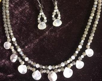 Moonstone and Labradorite Jewelry Set