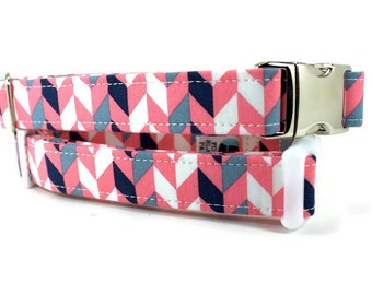 Dog Collar | Pink and Gray Geometric Dog Collar | Your choice of metal buckle or plastic buckle | Girl Dog Collar |Pink Dog Collar