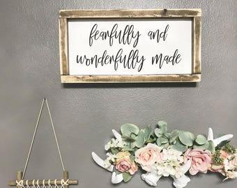 Fearfully and Wonderfully Made / Nursery Decor / Rustic Nursery / Boho Decor / Boho Nursery Decor / Rustic / Psalm 139:14
