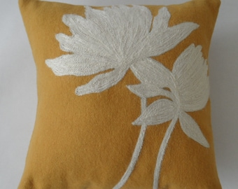 Ochre yellow with off white flowers pillow cover- 18 inches by 18 inches
