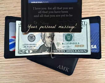 Personalized mens wallet • engraved wallet •  monogrammed leather money clip • Groomsmen wallet • Groomsmen gift money clip black** 7916