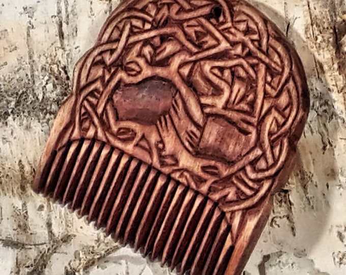 Viking Wooden Comb with Yggdrasil
