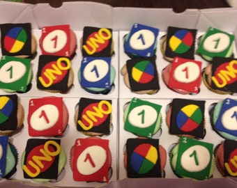 12 First birthday Uno card fondant cupcake toppers