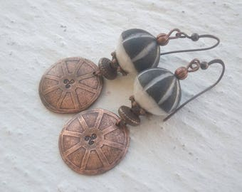 Geometric - ceramic and etched copper earrings enameled