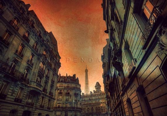 Paris street, Paris Eiffel Tower, view of Eiffel Tower, orange decor, Paris Print, Paris Decor, Paris Art, Eiffel tower print,parisian decor