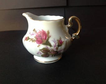 Vintage Royal Sealy Small Creamer Moss Rose Gold Trim Japan