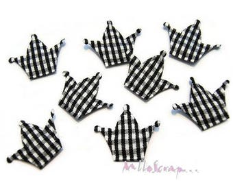 Set of 10 Crowns fabric scrapbooking embellishment black gingham card (ref.310). *.