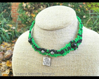 Om Necklace Om Symbol Black and Green Micromacrame Adjustable Eco Friendly Jewelry