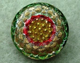 Czech Glass Button 23mm - hand painted - blossom, green, yellow, red, gold (B23121)