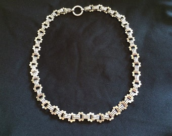 Sterling Silver Victorian Necklace, Victorian Chain, Silver Collar
