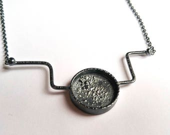 Oxided silver sterling pendant geometric moon texture