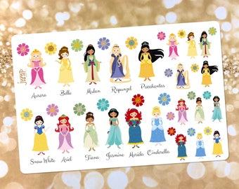 Fairytale Disney Princess stickers - for use with Erin Condren Happy Planner- Belle Mulan Rapunzel Pocahontas Ariel Tiana Jasmine Cinderella