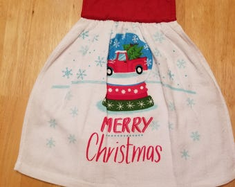 Red Truck in Snowglobe Christmas Hanging Kitchen Towel