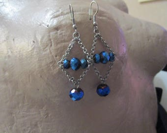 """vintage silvertone  dangling earrings 2.25""""total drop blue crystal beads three in centre and one at end as new"""