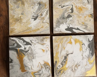 White silver and gold marble canvas painting