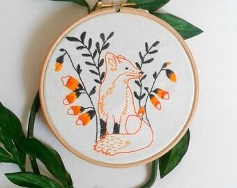 Fox embroidery pattern. PDF pattern. Printable. Woodland animal design. Fox and foxglove flowers. Fox hoop art. DIY  wall art. DIY decor