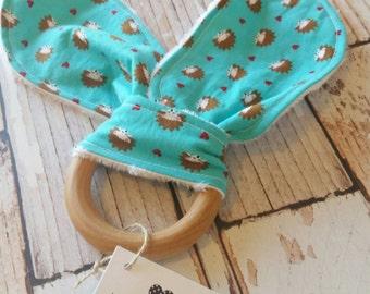 Teething Bunny - Baby Teething Toy - Hedgehog Teething Toy - Wood Teething Ring - Baby Shower Gift - Baby Stocking Stuffer - Bunny Ear Toy