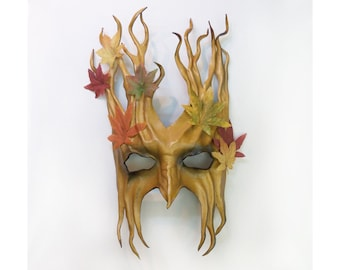 """13"""" Tall Tree Leather Mask with Fabric Leaves greenman greenwoman forest"""