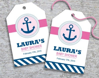 Personalized Nautical Anchor Baby Shower Favor Tags - DIY Printable - Baby Girl (Digital File)