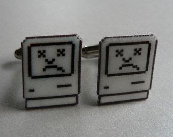 tragic icon - sad mac cufflinks