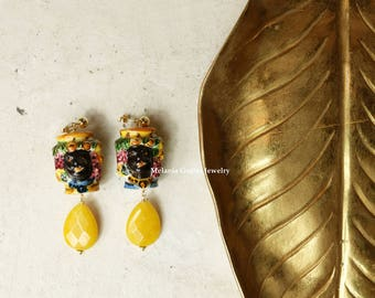 I MORI- vermeil earrings with authentic handmade ceramics of Caltagirone (Sicily), yellow jade - silver925 electroplated with gold