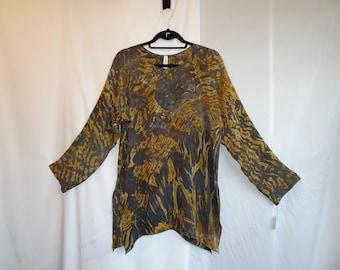 Silk Shibori Tunic - Bronze Charcol
