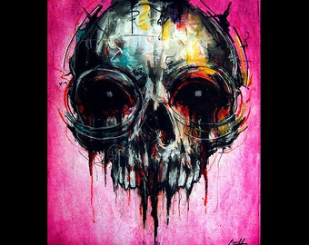 """Print 8x10"""" - Skull - Skeleton Dark Art Horror Abstract Pink Spooky Creep Gothic Surreal Macabre Pop Death Day of the Dead Haunted Monster"""