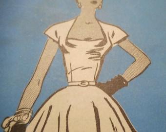 SALE RARE Vintage 1950's Mail Order A792 Prominent Designer Carolyn Schnurer Dress Sewing Pattern Size 14 Bust 32