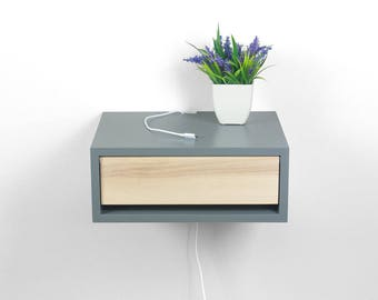 Devon Gray Contemporary Nightstand, Floating Nightstand, Side Table, Bedside Table, Wall Mount Night Stand