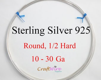 925 Sterling Silver Wire, Round, Half Hard, 10 12 14 16 18 19 20 21 22 24 26 28 30 Gauge, Jewelry Making Wire, Craft, 1 5 15 25 feet