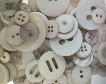 "Gray Buttons - Assorted Light Grey Bulk Sewing Button - From 3/8"" to over 1"" Widths - 100 Buttons - Silver Lining"