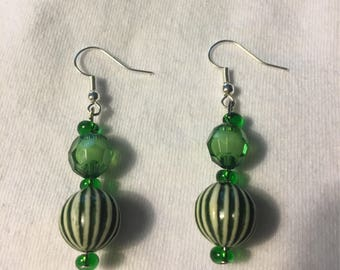 Multi green shades earrings with white striped bottom beads