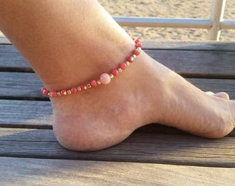 Beaded Anklet Bracelet, Beach Anklet, Ankle Jewelry, Foot Jewelry, Pink Anklet Bracelet, Valentines Day Gift Idea