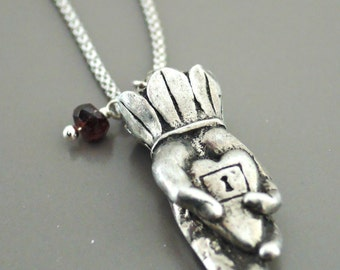 Silver Necklace - Palmistry Hand Necklace - Heart Necklace - Garnet Necklace - Hand Necklace - handmade jewelry