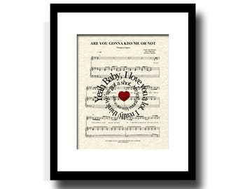 Are You Gonna Kiss Me Or Not by Thompson Square Song Lyric Sheet Music Art Print, Custom  Wedding, Anniversary Gift, First Dance