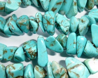 Natural Turquoise (Dyed) Large Chip/Nugget Beads - Half Strand