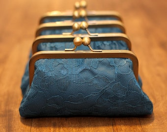 SALE - Teal Blue Personalized Bridesmaids Gifts - Lace Clutches - Originally 42.00