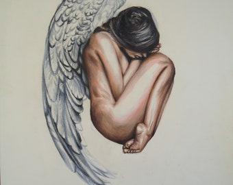 Original Angel drawing,  Angel artwork, Wall art, Original pencil drawing, Female artwork, Colored Pencil art, Original drawing, Angel gift