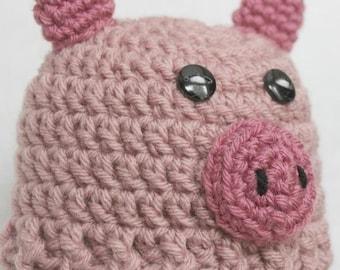 Preemie Newborn Pig Hat | Crochet Pig Hat Pattern | Baby Pig Hat Crochet Pattern | Newborn Baby Crochet Hat Pattern | PDF Pattern
