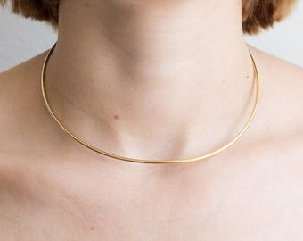 Simple Everyday Choker Necklace / Layering Choker / Brass, Sterling Silver