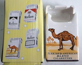 Camel Ceramic Ashtray Advertising Camel Cigarettes Pack Shape Ashtray Ceramic New Boxed