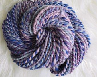 3.2 oz 96 yds Handspun Yarn, Eider Wool Bulky Weight Purple Pink Blue Knitting Weaving Crochet, Sturdy Wool Yarn